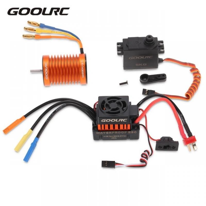 Goolrc F540 3000kv À Prova D 'Água Brushless Motor 45A ESC Com 6.0 kg de Metal Engrenagem Servo Combo Set Para 1/10 Carro RC